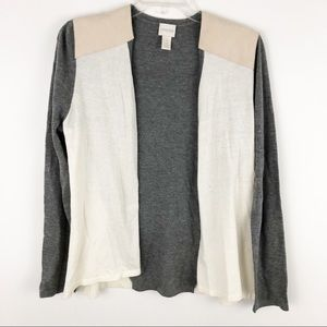 Chicos color blocking open front cardigan